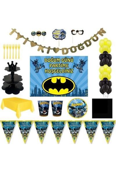 Batman Lüks Doğum Günü Parti Malzemeleri Afişli Set 8 Kişilik