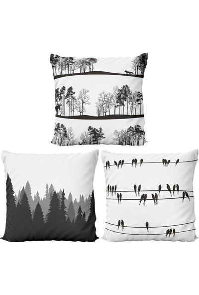 Kırlenthome 3'lü Çift Taraflı Orman Ağaç Seri Kırlent Kılıfları