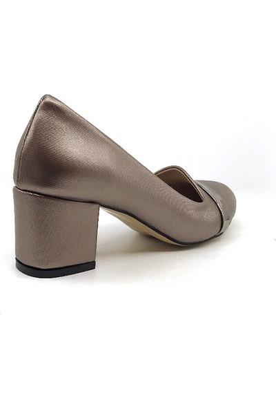 Ceylan MR114 Platin Şanel Kadın Günlük Topuklu Ayakkabısı