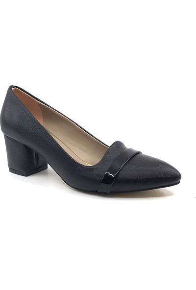 Ceylan MR114 Siyah Şanel Kadın Günlük Topuklu Ayakkabısı