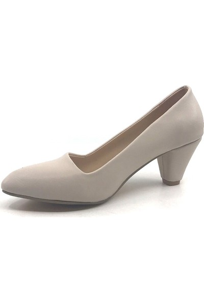 Ceylan MR215 Ten Cilt Fındık Topuk Kadın Topuklu Ayakkabı