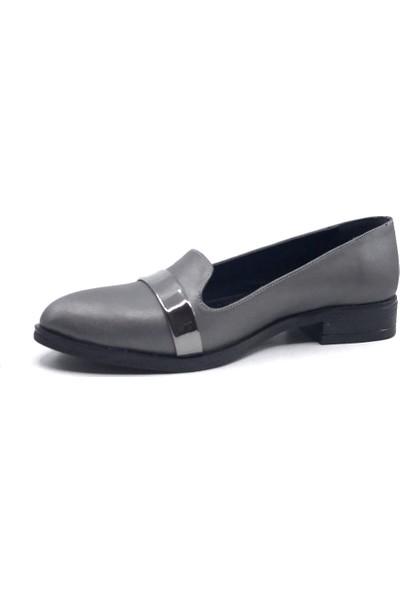 Ceylan MS101 Platin Cilt Günlük Kadın Yazlık Babet Ayakkabı