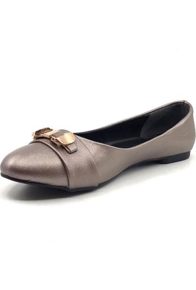 Ceylan YS6009 Platin Şanel Günlük Kadın Yazlık Babet Ayakkabı