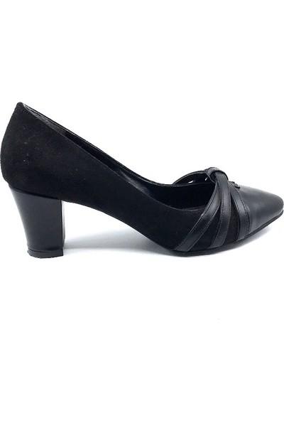 Daisy Siyah Süet Topuklu Kadın Ayakkabısı