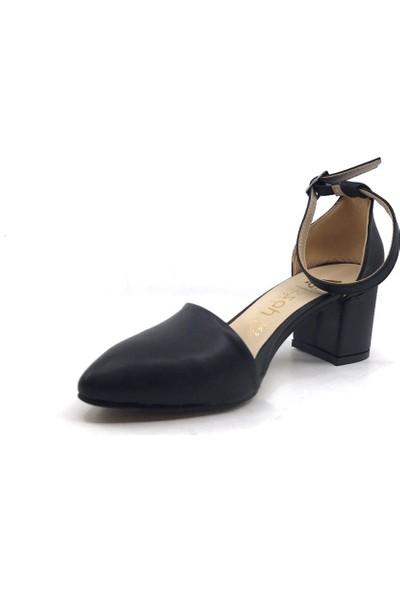 Gizsah Karnıyarık Topuklu 5 cm Siyah Cilt Kadın Günlük Ayakkabı