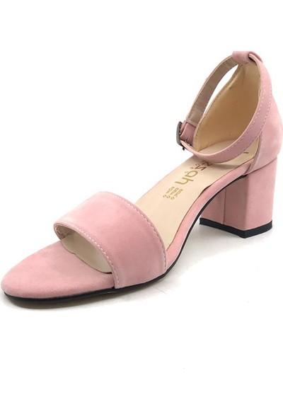 Gizsah Pubra Tekbant Süet Alçak Topuklu Kadın Ayakkabı