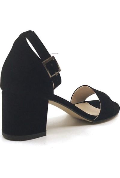 Gizsah Siyah Tekbant Süet Alçak Topuklu Kadın Ayakkabı