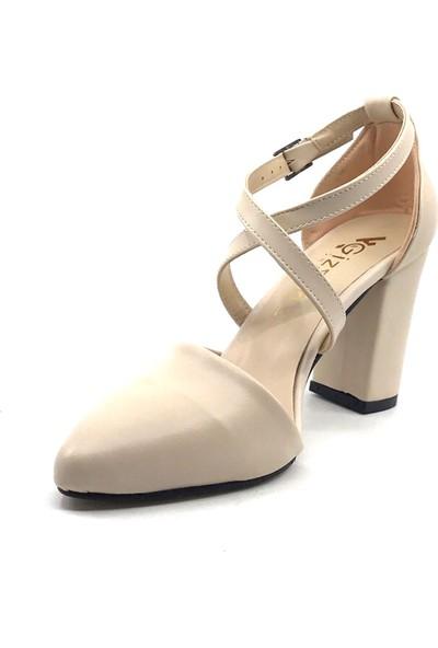 Gizsah Ten Karnıyarık 8 cm Çapraz Iplikli Topuklu Cilt Kadın Günlük Ayakkabı