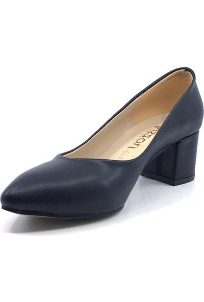 Gizzah Siyah Cilt 5 cm Topuklu Günlük Yazlık Kadın Ayakkabı