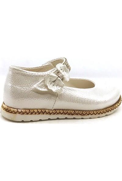 Pingu 250 Sedef Günlük Abiye Cırtlı Tokalı Kız Çocuk Babet Ayakkabısı