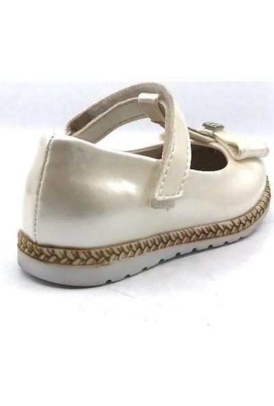 Pingu Kırık Beyaz Günlük Abiye Cırtlı Kemerli Tokalı Kız Çocuk Babet Ayakkabı