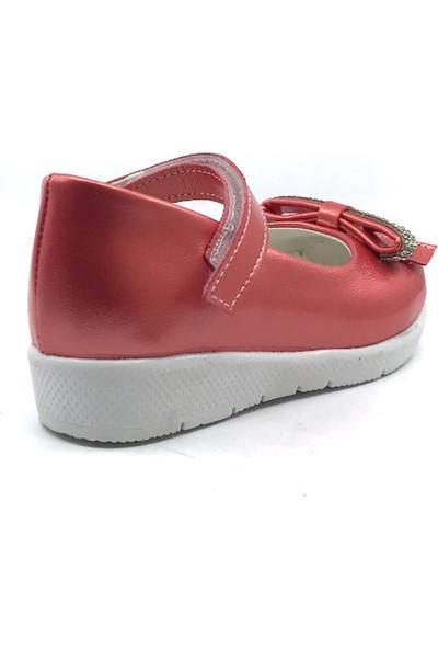 Pingu Kırmızı Günlük Abiye Cırtlı Kemerli Tokalı Kız Çocuk Babet Ayakkabısı
