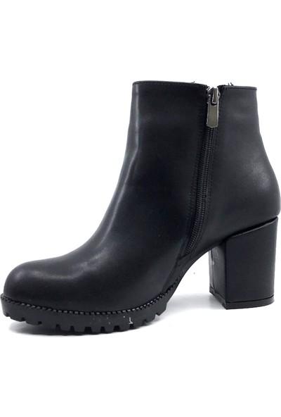 Scarletta 140 Cilt Deri Siyah Kışlık Kadın Botu