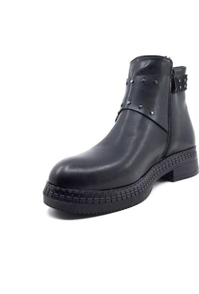Scarletta 190 Siyah Deri Kışlık Kadın Botu