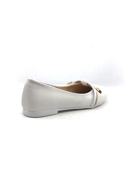 Vetta Beyaz Günlük Abiye Kız Çocuk Babet Ayakkabı