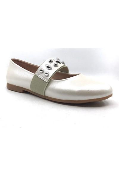 Vetta Krem Rengi Günlük Taşlı Kız Çocuk Babet Ayakkabı