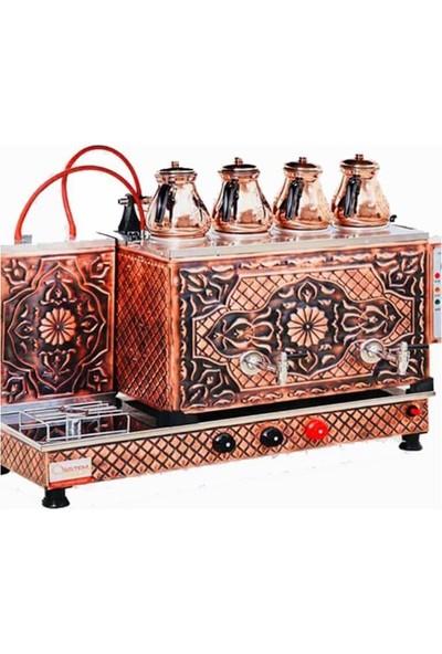 Sistem Çay Ocağı 4 Demlikli Tam Otomatik Bakır, Elektrikli, Lpg ve Ng Uyumlu