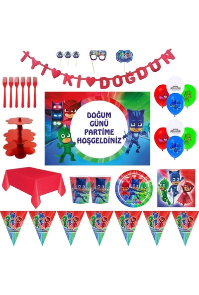 Pj Masks Pijamaskeliler Lüks Doğum Günü Parti Malzemeleri Afişli Set 16 Kişilik