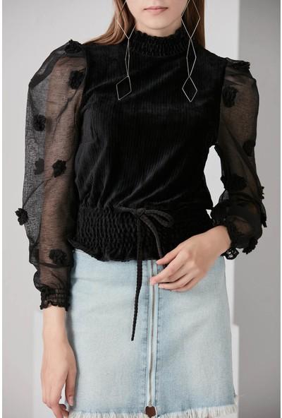 Waqpoo Transparan Kol Detaylı Kadife Bluz - Siyah