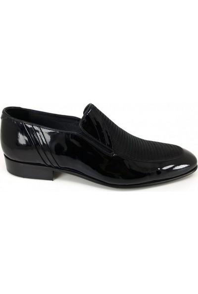 1537 Oskar Hakiki Kösele Erkek Ayakkabı-Siyah Rugan