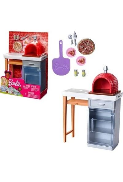 Barbie Mattel Barbie'nin Ev Dış Dekorasyon Pizza Fırını Aksesuarları FXG37