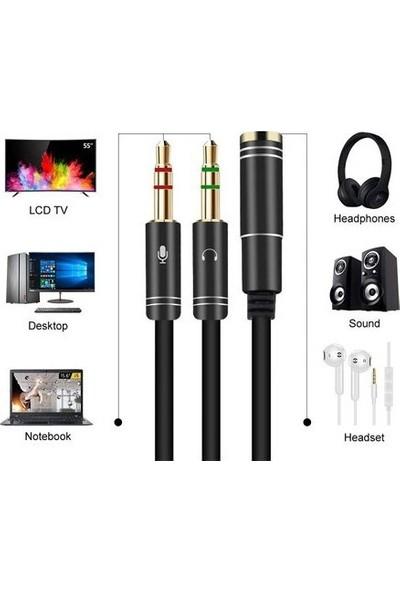 Vip Online Kulaklık Mikrofon Ayırıcı Kablo 3.5 mm Dişi To 2 x 3.5 mm Erkek