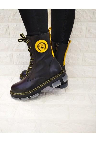 Marine Shoes Bot Kadın Siyah - Sarı Postal Bootie