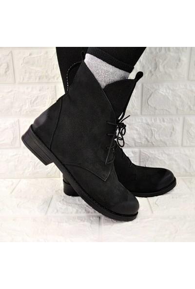 Marine Shoes Bot Kadın Siyah Nubuk Taşlı Postal Bootie