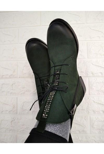 Marine Shoes Bot Kadın Haki Nubuk Taşlı Postal Bootie