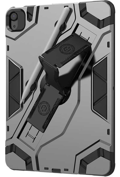 """Apple iPad Air 4 2020 10.9"""" Kılıf + Kalem + Ekran Koruyucu Armor Serisi Kalemlikli 360 Derece Tam Koruma Zırh Standlı"""