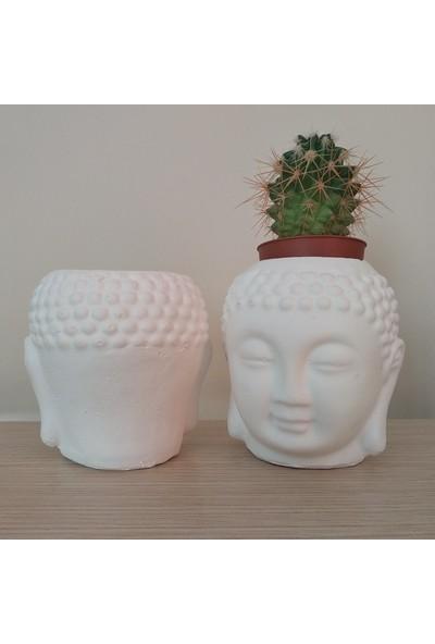3dproductsale Dekoratif Minyatür Buda 2'li Mumluk ve Mini Saksı Seti Budha Yoga 10 x 10 x 10 cm