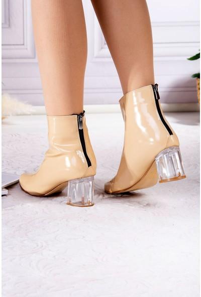 Tuğrul Ayakkabı Şeffaf Topuklu Arka Fermuarlı Nut Rugan Kadın Bot
