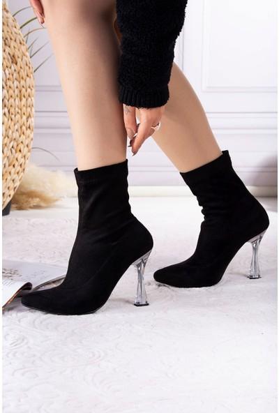 Tuğrul Ayakkabı Şeffaf Topuk Streç Siyah Süet Kadın Bot