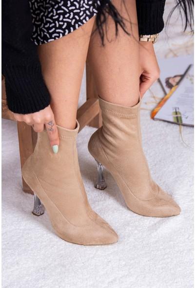 Tuğrul Ayakkabı Şeffaf Topuk Streç Vizon Süet Kadın Bot