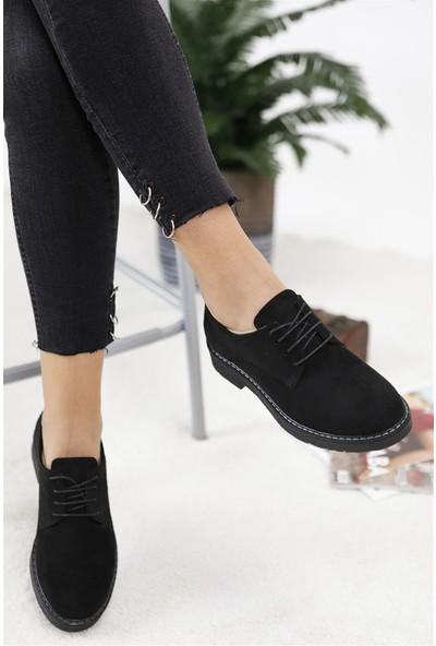 Tuğrul Ayakkabı Siyah Süet Oxford Kadın Ayakkabı