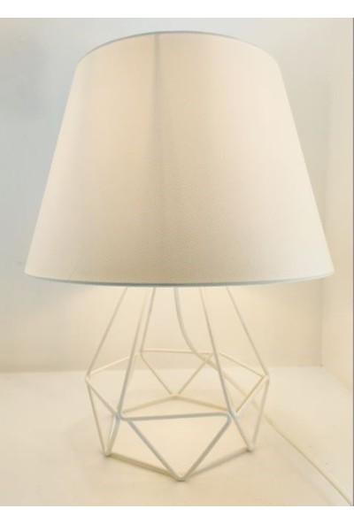365gunserisonu Beyaz Metal Kafes Ayaklı Beyaz Silinebilen Başlıklı Abajur Masa Lambası