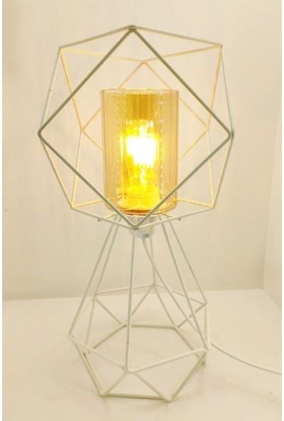 365gunserisonu Beyaz Metal Kafes Ayaklı ve Beyaz Metal Bal Renk Camlı Başlıklı Abajur Masa Lambası