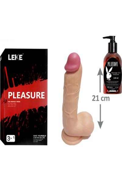 CNS Pleasure 21CM Testisli Gerçekçi Kalın Dildo ve Playboy Masaj Yağı