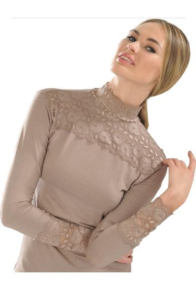 Sıla Sella Çiçek Dantel Süslemeli Uzun Kollu Bluz
