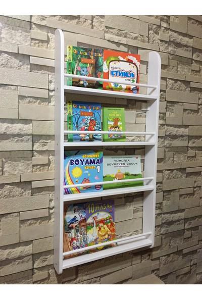 Şahin Mobilya Ahşap 4 Raflı Montessori Kitaplık 120X60 cm Beyaz
