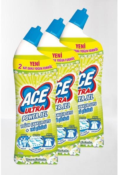 Ace Ultra Yoğun Kıvamlı Çamaşır Suyu Limon Tazeliği 750 ml * 3lü Set