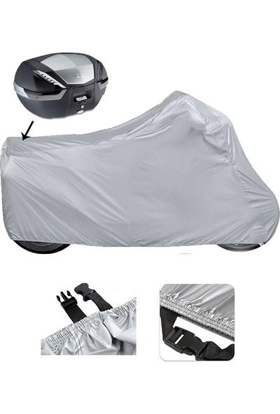 Autozel Arora Ar 100-8 Klasik Çelik Motosiklet Brandası Arka Çanta Uyumlu (Bağlantı Tokalı)