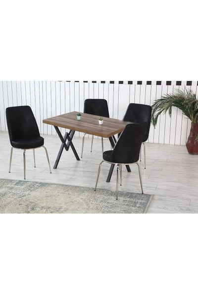 Dzdizayn Umay Ceviz Renk Masa & Siyah Kumaş Sandalyeli Set 80*120