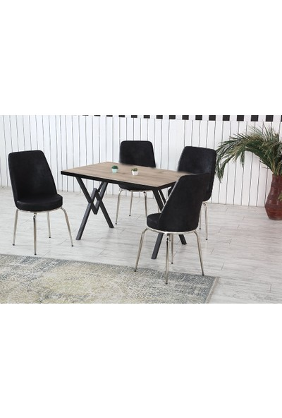 Dzdizayn Umay Keçe Renk Masa & Siyah Kumaş Sandalyeli Set 80*120
