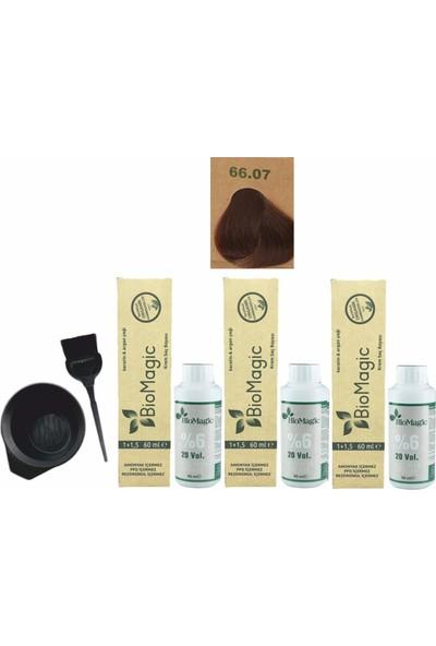 Biomagic Amonyaksız Organik Keratin+Argan Yağlı Saç Boyası 66.07 Çikolata Kahve 60 ml x 3 +90 ml Oksidan+Boyama Seti