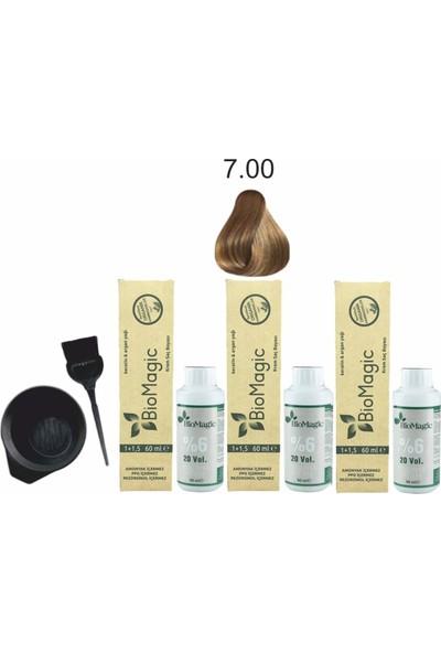 Biomagic Amonyaksız Organik Keratin+Argan Yağlı Saç Boyası 7.00 Kumral 60 ml x 3 +90 ml Oksidan+Boyama Seti
