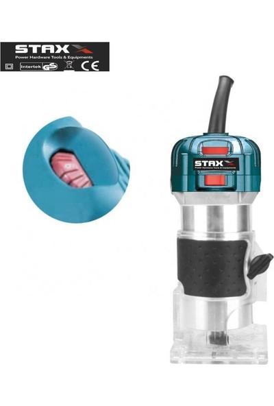 Staxx Power Staxx Pro 6 Kademe Devir Ayarlı 1600W Formika Traşlama Freze Makinesi 6mm Pens