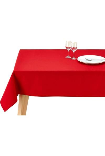Derin Home Düz Kırmızı Renkli Dertsiz Masa Örtüsü 160 x 200 cm + 6 Adet 35X35 Peçete