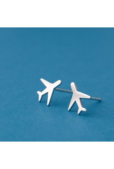 Takı Store Uçak Figürlü Seyahat Temalı Gümüş Küpe