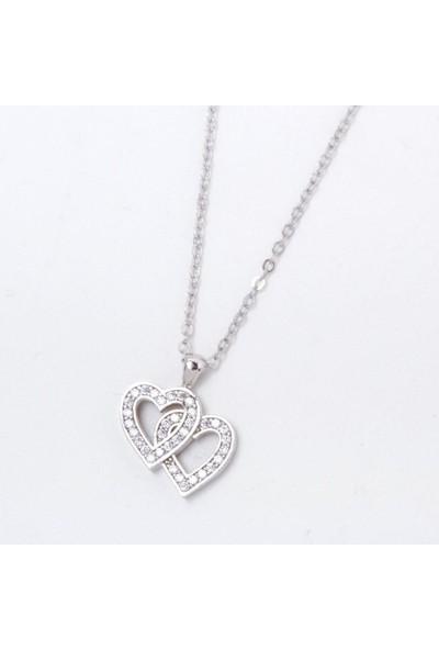365gunserisonu İkili Kalp Aşk Gümüş Kadın Zirkon Taşlı Kolye Gri Renk